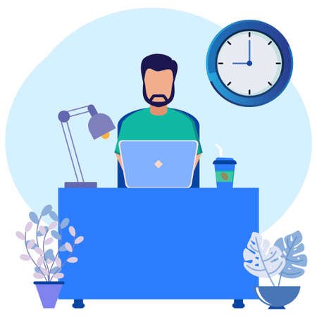 Flat style vector illustration. Freelancers Work Laptops Sitting at Desks at Work Thinking about Tasks. Brainstorming Freelance Outsourcing Worker Jobs.