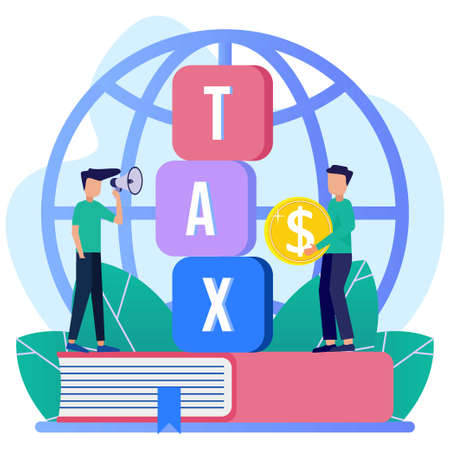 Vector illustration of a business concept. Paying taxes every year, obedient entrepreneurs pay taxes, records, property values. Business profit that reaches the target.