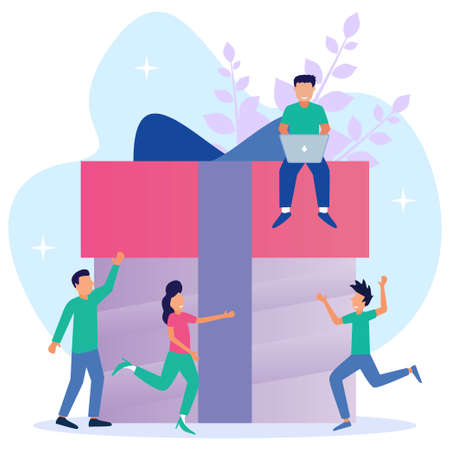 Flat style vector illustration, Happy office workers, employees receiving gifts, online gifts for good work, holiday company awards.