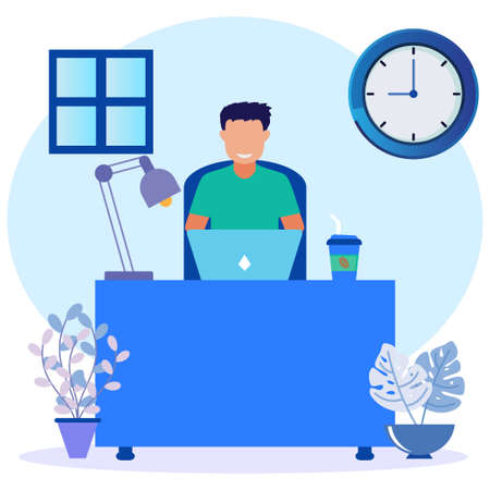 Cartoon Flat Illustration Vector Busy Business man or Freelance Worker Working Laptop Sitting at Workplace Desk Thinking of Assignments. Brainstorm Freelance Outsourcing Worker Jobs.