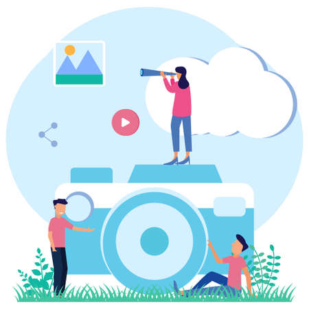 Modern style vector illustration with big camera background, taking photos, self-expression, happy, holidays, influencers.