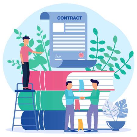 Vector illustration of a business concept. Business people working together to shake hands. Build a business together. fund creative projects. Signing a contract agreement.