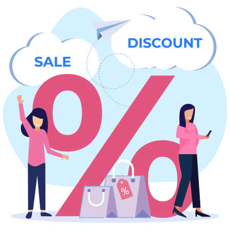 Vector illustration of business concept of discounted sales prices, decreases, shopping, customer increases.
