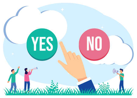Modern vector illustration. The concept of the option selection process. Symbolic scenes with yes or no answers and decision making. Positive or negative persuasion and convincing visualization.