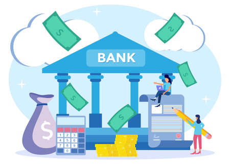 Flat Isometric Vector Illustration. Coins, Banknotes, Financial Documents are in the building of the Bank. Public Financial Audit Concept. Vektorové ilustrace