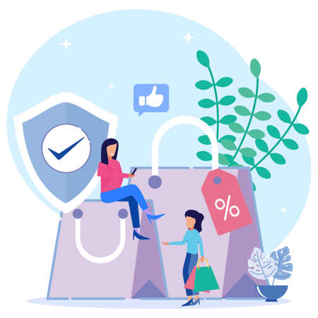 Vector illustration of Customer rights and responsibilities. Buyer-seller relationship rules. Consumer protection, consumer information, consumer legal metaphors.