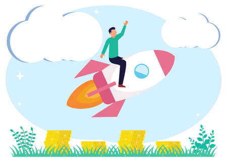 Vector illustration of startup project launch with innovative entrepreneurial concept, businessperson's idea. Scene, creative breakthrough for growth. Start and start the work process. Ilustracje wektorowe