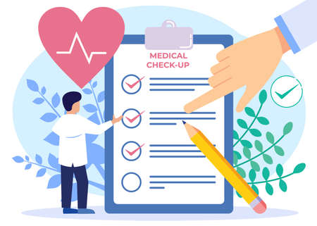 Vector illustration of medical examination as the concept of a doctor's medical test on a patient. Preventive examinations reduce disease and disease diagnosis. Consultation with hospital specialists.