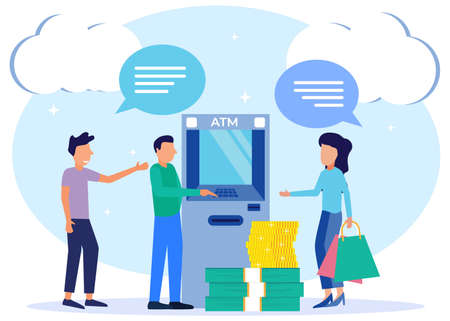 Modern style vector illustration of financial transactions using an ATM. People queue near ATM machines, Queues at ATMs. Business men and women are in line.