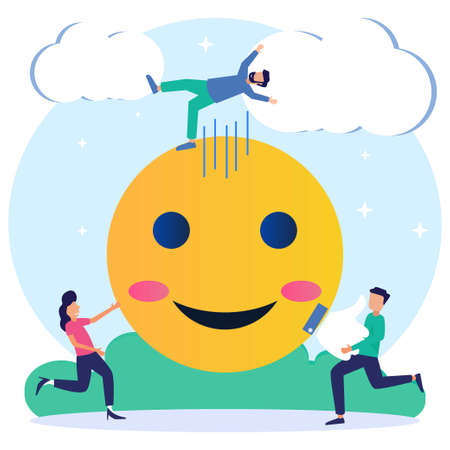 Flat isometric vector illustration isolated on white background. Social media concept with smiley emoji icon, happy people character.