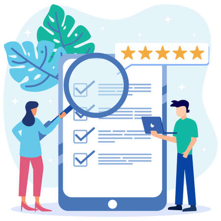 Modern style Vector illustration. Person Character Fill Test on Customer Survey Form. The man ticks the checklist. Customer Experience and Satisfaction Concept.