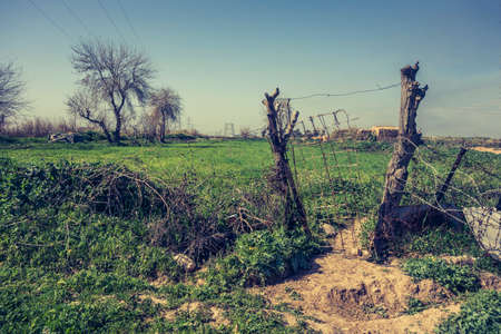 wire mess: Iraqi countryside in Spring season Stock Photo