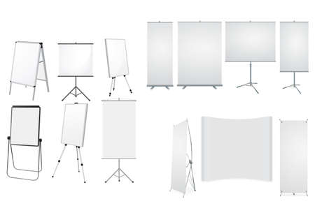 Collection of Rollup stands isolated on white background