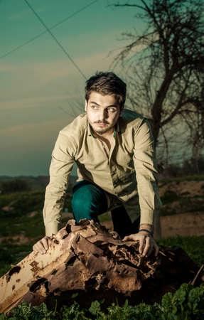 iraqi: Fantasy scene of Iraqi caucasian boy in Iraqi countryside Stock Photo