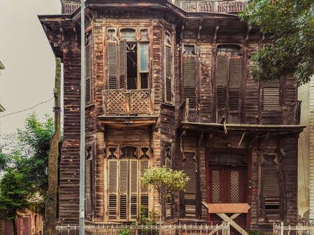 pannel: Facade of abandoned house in Far countryside in Turkey left for over 30 years