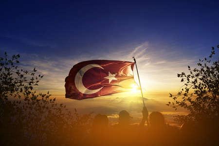 トルコの旗、トルコ 写真素材
