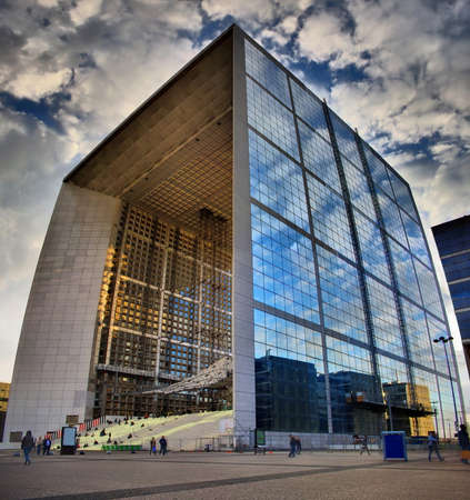 fense: La Grande Arche de la D? ? fense, Paris, France, HDR photo with beautiful clouds