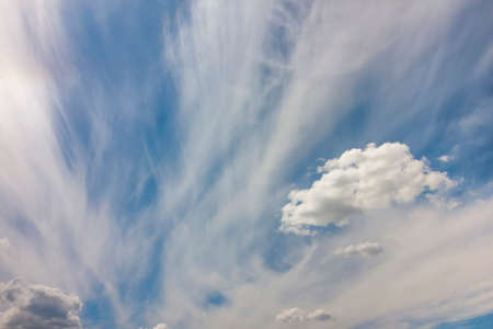puffy: Dramatic blue sky with puffy white clouds in bright clear sunny day Stock Photo