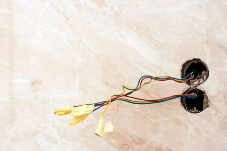finishing works at renovated apartment electrical wiring rh 123rf com