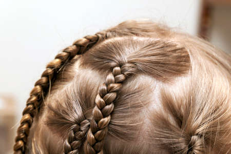 Close up of braid hair of little girl