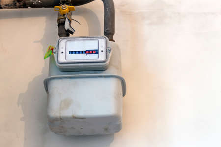 Gas meter in a house under renewal. Indoor gas meter used for measuring natural gas consumption in buildings / houses.