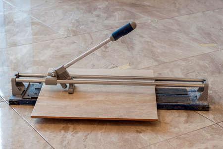 Ceramic Tiles And Tools For Tiler Floor Tiles Installation Stock