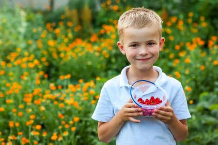 Cute little boy holding bowl with strawberries