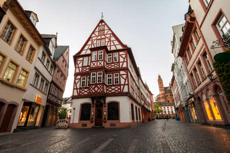 Old architecture houses in the center of Mainz city near Frankfurt am Main, Germany