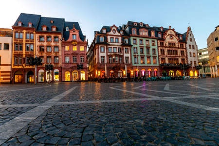 The market square in the old town of Mainz, Germany at sunset