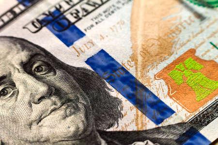 one hundred dollars: US one hundred dollar bills money background Stock Photo