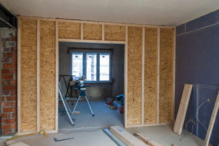 attic: Interior of a house under construction. Renovation of an apartment