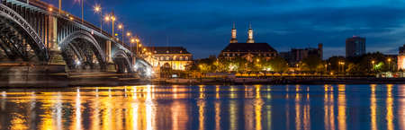 Beautiful sunset night over Rhine  Rhein river and old bridge in Mainz near Frankfurt am Main, Germany. Editorial