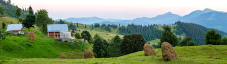 Village houses on hills with green meadows in summer day. House of shepherds in mountains in carpathian