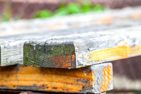 vintage furniture: Close up of old wooden boards on a bench Stock Photo