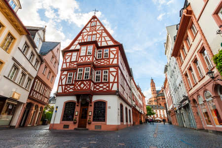 Mainz, Germany - June 12, 2017: Old historic buildings in Mainz, Germany