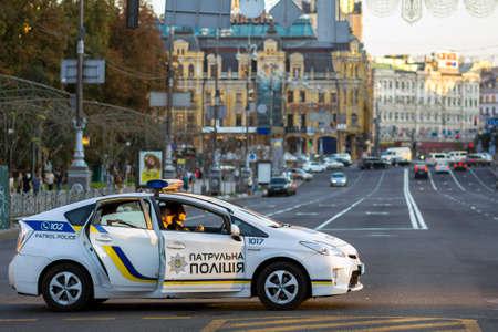 Kiev, Ukraine - September 20, 2017: Police patrol car on the street.