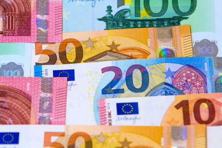 Different euro money banknotes for usage as background Stock Photo