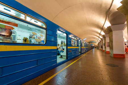 Kiev, Ukraine - October 15, 2017: Underground (subway) metro train standing at a station before departure