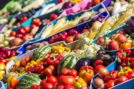 Farmers fruit market with various colorful fresh fruits and vegetables Stock Photo