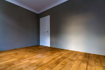 New renovated room interior with freshly painted walls, white door and wooden parquet floor