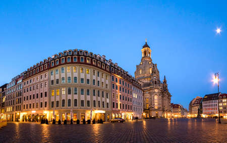 Long exposure of the Neumarkt square and Frauenkirche (Church of Our Lady) in Dresden on clear night, city square. Historic architecture buildings in Germany. Stock Photo