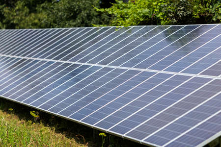 Close-up surface of lit by sun modern saving efficient stand -alone blue shiny solar photo voltaic panels system producing renewable clean energy on green grass and trees foliage background. Stockfoto