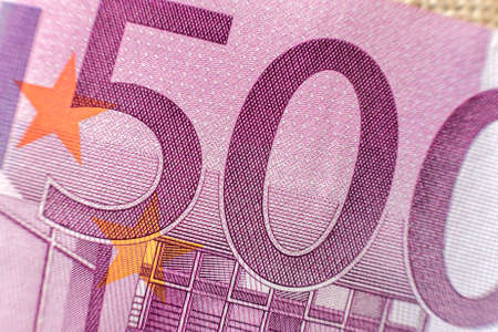 Money, busyness and finances concept. Detail part of five hundred banknote euro national currency bill. Symbol of wealth and prosperity. 版權商用圖片