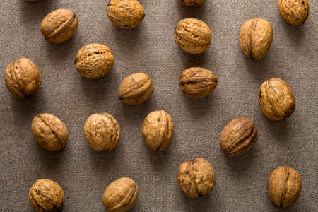 Close-up of walnuts in wooden shell isolated on light copy space background, top view. Healthy tasty organic food concept.