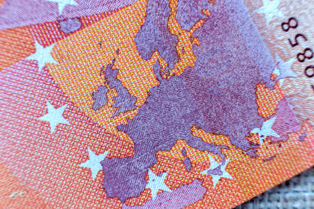 Money, busyness and finances concept. Detail part of five hundred banknote euro national currency bill. Symbol of wealth and prosperity. Stock Photo
