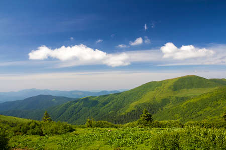 Green mountains panorama under blue sky on bright sunny day. Tourism and traveling concept, copy space background.