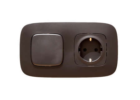 Isolated gray electrical power outlet socket