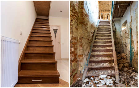 Comparison of modern brown wooden staircase in new renovated apartment interior and old ladder stairs. Before renovation and after house reconstruction collage.