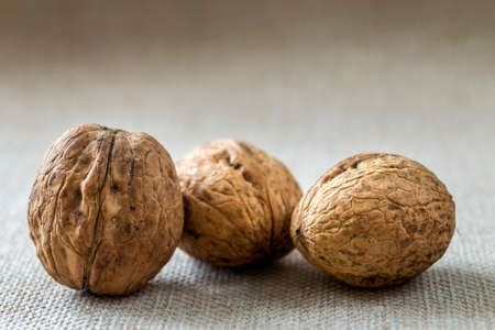 Close-up of walnuts in wooden shell isolated on light copy space background. Healthy tasty organic food concept. Stock Photo - 124550490
