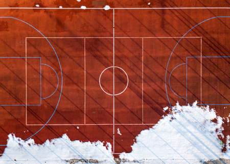 Top graphic view of basketball, volleyball or football court field brown background, drone photography. Stock Photo